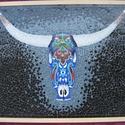 Üvegmozaik: Mexikói bikafej, Dekoráció, Otthon, lakberendezés, Kép, Falikép, Mozaik, Üvegművészet, Mexikói bikafej: színes üvegmozaik kép  55 x 67 cm  A képhez egyedileg, kézzel törtem, csiszoltam a..., Meska