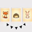 Erdei állatok (róka, süni, nyuszi)  keretezett falikép sorozat / babaszoba dekoráció (3 db) 20x30-as méretben, Baba-mama-gyerek, Baba-mama kellék, Gyerekszoba, Baba falikép, Ez a vektorgrafikával készült színes, 3 db-os erdei állatkás képsorozat, tökéletes dekoráció lehet b..., Meska