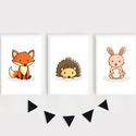 Erdei állatok (róka, süni, nyuszi) keretezett falikép sorozat / babaszoba dekoráció (3 db) 20x30-as méretben, Baba-mama-gyerek, Gyerekszoba, Baba falikép, Baba-mama kellék, Ez a vektorgrafikával készült színes, 3 db-os erdei állatkás képsorozat, tökéletes dekoráció lehet b..., Meska