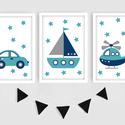 Keretezett járműves (autó, hajó, helikopter) falikép sorozat / babaszoba dekoráció (3 db) 20x30-as méretben, Baba-mama-gyerek, Gyerekszoba, Baba falikép, Baba-mama kellék, Ez a vektorgrafikával készült színes, 3 db-os járműves képsorozat, tökéletes dekoráció lehet baba - ..., Meska