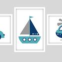 Keretezett járműves (autó, hajó, helikopter) falikép sorozat / babaszoba dekoráció (3 db) 20x30-as méretben, Baba-mama-gyerek, Baba-mama kellék, Gyerekszoba, Baba falikép, Ez a vektorgrafikával készült színes, 3 db-os járműves képsorozat, tökéletes dekoráció lehet baba - ..., Meska