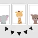 Keretezett állatkás (elefánt, zsiráf, maci) falikép sorozat / babaszoba dekoráció (3 db) 20x30-as méretben, Baba-mama-gyerek, Baba-mama kellék, Gyerekszoba, Baba falikép, Ez a vektorgrafikával készült 3 db-os állatkás képsorozat, tökéletes dekoráció lehet baba - és gyere..., Meska