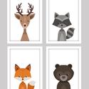 Keretezett állatkás (szarvas,maci,mosómedve,róka) falikép sorozat / babaszoba dekoráció (4 db) 20x30-as méretben, Baba-mama-gyerek, Baba-mama kellék, Gyerekszoba, Baba falikép, Fotó, grafika, rajz, illusztráció, Ez a vektorgrafikával készült 4 db-os állatkás képsorozat, tökéletes dekoráció lehet baba - és gyer..., Meska