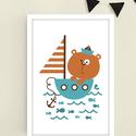 Barna-türkiz (bármilyen színben kérhető) hajós macis falikép / babaszoba dekoráció 20x30 cm-es méretben, Baba-mama-gyerek, Baba-mama kellék, Gyerekszoba, Baba falikép, Ez a vektorgrafikával készült macis kép, tökéletes dekoráció lehet baba - és gyerekszoba falára, pol..., Meska