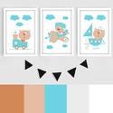 Kék-bézs (más színben is rendelhető) keretezett macis falikép sorozat / babaszoba dekoráció (3 db) 20x30-as méretben, Baba-mama-gyerek, Dekoráció, Gyerekszoba, Baba falikép, Ez a vektorgrafikával készült 3 db-os macis képsorozat, tökéletes dekoráció lehet baba - és gyereksz..., Meska