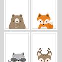 Erdei állatos (mosómedve,róka,szarvas,medve) keretezett falikép sorozat / babaszoba dekoráció (4 db) 20x30-as méretben, Baba-mama-gyerek, Baba-mama kellék, Gyerekszoba, Baba falikép, Ez a vektorgrafikával készült 4 db-os állatkás képsorozat, tökéletes dekoráció lehet baba - és gyere..., Meska