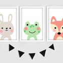 Cuki állatkás (nyuszi, béka,róka) keretezett falikép sorozat / babaszoba dekoráció (3 db) 20x30-as méretben, Baba-mama-gyerek, Gyerekszoba, Képkeret, Fotó, grafika, rajz, illusztráció, Ez a vektorgrafikával készült 3 db-os állatkás képsorozat, tökéletes dekoráció lehet baba - és gyer..., Meska