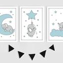 Kék-szürke kisfiús elefántos keretezett falikép sorozat / babaszoba dekoráció (3 db) 20x30-as méretben, Baba-mama-gyerek, Baba-mama kellék, Gyerekszoba, Baba falikép, Ez a vektorgrafikával készült 3 db-os elefántos képsorozat, tökéletes dekoráció lehet baba - és gyer..., Meska