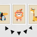 Indián állatkás keretezett falikép sorozat / babaszoba dekoráció (3 db) 20x30-as méretben, Baba-mama-gyerek, Baba-mama kellék, Gyerekszoba, Baba falikép, Ez a vektorgrafikával készült 3 db-os színes állatkás képsorozat, tökéletes dekoráció lehet baba - é..., Meska