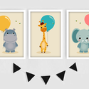 Állatkás (zsiráf, víziló, elefánt) lufis keretezett falikép sorozat / babaszoba dekoráció (3 db) 20x30-as méretben, Baba-mama-gyerek, Dekoráció, Gyerekszoba, Falmatrica, Fotó, grafika, rajz, illusztráció, Ez a vektorgrafikával készült 3 db-os színes állatkás képsorozat, tökéletes dekoráció lehet baba - ..., Meska