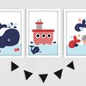 Vidám kisfiús tengeri keretezett falikép sorozat / babaszoba dekoráció (3 db) 20x30-as méretben, Baba-mama-gyerek, Baba-mama kellék, Gyerekszoba, Baba falikép, Ez a vektorgrafikával készült 3 db-os vidám kisfiús képsorozat, tökéletes dekoráció lehet baba - és ..., Meska