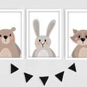 Keretezett állatkás falikép sorozat / babaszoba dekoráció (3 db) 20x30-as méretben, Baba-mama-gyerek, Dekoráció, Gyerekszoba, Baba falikép, Ez a vektorgrafikával készült színes, 3 db-os állatkás képsorozat, tökéletes dekoráció lehet baba - ..., Meska