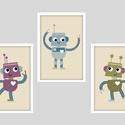 Keretezett robotos (több színben) falikép sorozat / babaszoba dekoráció (3 db) 20x30-as méretben, Baba-mama-gyerek, Baba-mama kellék, Gyerekszoba, Baba falikép,  Ez a vektorgrafikával készült színes, 3 db-os robotos képsorozat, tökéletes dekoráció lehet baba - ..., Meska