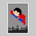 Szuperhős (Superman) keretezett falikép / gyerekszoba dekoráció 20x30 cm-es méretben, Baba-mama-gyerek, Baba-mama kellék, Gyerekszoba, Baba falikép, Ez a vektorgrafikával készült szuperhősös kép, tökéletes dekoráció lehet baba - és gyerekszoba falár..., Meska