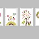 Egyedi elképzelés alapján készült keretezett falikép sorozat / babaszoba dekoráció (4 db) 20x30-as méretben, Baba-mama-gyerek, Baba-mama kellék, Gyerekszoba, Baba falikép, Egyedi elképzelés alapján készült 4 db-os színes, mintás képsorozat.  A megadott ár 4 db színes, 250..., Meska