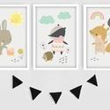 Színes állatkás keretezett falikép sorozat kislányoknak/ babaszoba dekoráció (3 db) 20x30-as méretben, Baba-mama-gyerek, Baba-mama kellék, Gyerekszoba, Baba falikép, Fotó, grafika, rajz, illusztráció,  Ez a vektorgrafikával készült 3 db-os színes állatkás képsorozat, tökéletes dekoráció lehet baba -..., Meska