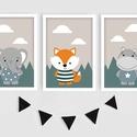 Skandináv állatkás keretezett falikép sorozat / babaszoba dekoráció (3 db) 20x30-as méretben, Baba-mama-gyerek, Baba-mama kellék, Gyerekszoba, Baba falikép,  Ez a vektorgrafikával készült színes, 3 db-os skandináv képsorozat, tökéletes dekoráció lehet baba ..., Meska