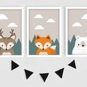 Skandináv állatos (róka, mosómedve,jegesmedve) keretezett falikép sorozat / babaszoba dekoráció (3 db) 20x30-as méretben, Dekoráció, Baba-mama-gyerek, Baba-mama kellék, Gyerekszoba, Ez a vektorgrafikával készült 3 db-os skandináv képsorozat, tökéletes dekoráció lehet baba - és gyer..., Meska