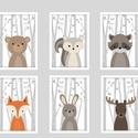 Keretezett erdei állatkás falikép sorozat / babaszoba dekoráció (6 db) 20x30-as méretben, Baba-mama-gyerek, Baba-mama kellék, Gyerekszoba, Baba falikép, Ez a vektorgrafikával készült 6 db-os állatkás képsorozat, tökéletes dekoráció lehet baba - és gyere..., Meska