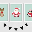 Mikulás, szarvas és pingvin keretezett falikép sorozat / karácsonyi dekoráció (3 db) 13x18-as méretben, Baba-mama-gyerek, Dekoráció, Ünnepi dekoráció, Kép, Ez a vektorgrafikával készült 3 db-os ünnepi képsorozat, tökéletes karácsonyi dekoráció lehet.  A me..., Meska