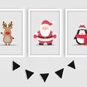 Mikulás, szarvas és pingvin keretezett falikép sorozat / karácsonyi dekoráció (3 db) 20x30-as méretben, Baba-mama-gyerek, Baba-mama kellék, Gyerekszoba, Baba falikép, Ez a vektorgrafikával készült 3 db-os ünnepi képsorozat, tökéletes karácsonyi dekoráció lehet.  A me..., Meska