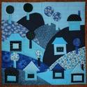 Gyermek falvédő (80x80) Kék-zöld, Baba-mama-gyerek, Gyerekszoba, Falvédő, takaró, Egyedi gyermekfalvédő (kb. 80x80 cm) pamutvászon, vatelin betéttel, tűzéses technikával. Színvilág, ..., Meska