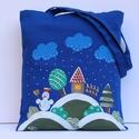 téli mesetáska, Képzőművészet, Táska, Szatyor, Erős vászonból varrt táska, amit textilfestékkel festek meg. mérete:37x34cm  Könnyen hordható vállon..., Meska