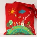 Ballagási mesetáska, Erős vászonból varrt táska, amit textilfesték...