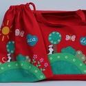 Ovis táska tornazsákkal, Táska, Baba-mama-gyerek, Szatyor, Baba-mama kellék, Festett tárgyak, Varrás, Erős vászonból varrt táska, amit textilfestékkel festek meg.   Táska mérete: 45x41cm ,          zse..., Meska