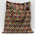 Geometriai mintás táska, Vidám, színes  vastag szőttes anyagával igazá...