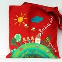 Ballagási mesetáska, Képzőművészet, Táska, Szatyor, Ballagás, Erős vászonból varrt táska, amit textilfestékkel festek meg. mérete:37x34cm  Könnyen hordható vállon..., Meska