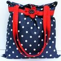Pöttyös táska, Fehér pöttyös anyagával,piros kiegészítőive...