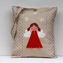 Angyalkás táska, Képzőművészet, Táska, Szatyor, Pöttyös vászonból varrt táska, amit  kézzel festet vidám angyalka hópihével díszít. Mérete: 39x33cm ..., Meska