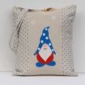 Manós táska, Képzőművészet, Táska, Szatyor, Pöttyös vászonból varrt táska, amit  kézzel festet vidám sapkás manó, hópihével díszít. Mérete: 39x3..., Meska