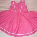 pink fodros ruhácska, Ruha, divat, cipő, Gyerekruha, Gyerek (4-10 év), Eladó a képen látható tavaszi-nyári,   kislányoknak készült pöttyös, pörgős ruhácska.  ..., Meska