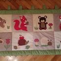 patchwork falvédő állatos mintával, Baba-mama-gyerek, Otthon, lakberendezés, Gyerekszoba, Falvédő, takaró, Varrás, fotlvarrás technikával készítettem ezt az erdei állatos  falvédőt, mérete 80x 160cm 3 rétegű, a hát..., Meska