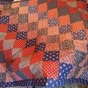 patchwork ágytakaró 135x 190 cm, Baba-mama-gyerek, Otthon, lakberendezés, Gyerekszoba, Falvédő, takaró, S.kék-bordó virágmintás anyagokból készítettem ezt a nagyméretű patchwork ágytakarót, meg..., Meska
