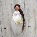 Gyapjú menyasszony, angyal, tündér, nemezelt, Dekoráció, Esküvő, Dísz, Nászajándék, Hagyományos tűnemezelt technikával gyapjúszálból készült figura dekorációs célra.  Magass..., Meska