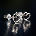 Ezüst szív fülbevaló, Esküvő, Ékszer, Esküvői ékszer, Fülbevaló, Egyedi, kézzel készült bedugós szív alakú ezüst fülbevaló fémjelzett ezüst stopperrel. Sz..., Meska