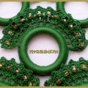 Horgolt szalvétagyűrű szett sötét zöld színben, Dekoráció, Otthon, lakberendezés, Ünnepi dekoráció, Lakástextil, Horgolás, Horgolt szalvétagyűrű szett sötét zöld színben, pamut horgolócérnából, gyöngy díszítéssel, műanyag ..., Meska