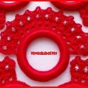 Horgolt szalvétagyűrű szett vörös színben, Dekoráció, Otthon, lakberendezés, Ünnepi dekoráció, Lakástextil, Horgolás, Horgolt szalvétagyűrű szett vörös színben, horgolócérnából, gyöngy díszítéssel, műanyag karikára. K..., Meska