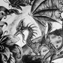 Kolibri sárkány, Képzőművészet, Dekoráció, Grafika, Kép, Fotó, grafika, rajz, illusztráció, Kolibri sárkány tusrajz. Ernest Drake könyv ihlette. Apró, kolibri termetű sárkány aki nektáron él...., Meska