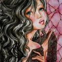 Seraphine , Képzőművészet, Dekoráció, Festmény, Kép, Festészet, Fotó, grafika, rajz, illusztráció, Seraphine az érzéki, a titokzatos és a szenvedélyes. Csipkébe burkolva, ólomüveg előtt.  32x24 cm-e..., Meska