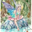 Tündérmese, Képzőművészet, Festmény, Akvarell, Festészet, Fotó, grafika, rajz, illusztráció, Egy Tündérmese. Egy ősöreg erdőben, ahol a fák még emlékeznek a varázslatokra. Ahol a tavakban a ha..., Meska