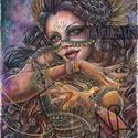 A Szerencse istennője , Képzőművészet, Festmény, Akvarell, Grafika, Festészet, Fotó, grafika, rajz, illusztráció, Minden szerencsék istennője, a szerencse rengeteg szimbólumával felvértezve. Arany színű fonalával ..., Meska