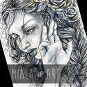 A fáradt rózsa, Képzőművészet, Grafika, Rajz, Illusztráció, Akvarellel és tussal készült kép,  arany festékkel kiegészítve.  A/4es méretű  *15.000 ft-o..., Meska