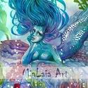 Korall, Képzőművészet, Festmény, Akvarell, Az ezerszínű korallzátonyok egyik titokzatos lakója a sellő, amit soha senki sem lát.   Akvare..., Meska