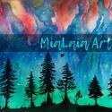 Csillagos éjszaka, Képzőművészet, Festmény, Akvarell, A fák sziluettje a csillagos, színekkel teli éjszakával.   Akvarellel és tussal készült 32x24..., Meska