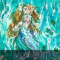 Pihentető hullámok, Képzőművészet, Festmény, Akvarell, Egy sellő pihenése a lágy hullámok felszínén.  32x24 cm-es akvarell festmény, Meska