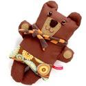 Felni medve csíkos harisnyában, fogaskerék mintás gatyában - barna, narancs, világoskék, Játék, Baba-mama-gyerek, Plüssállat, rongyjáték, Játékfigura, Felni szerelnivalókban gazdag otthont keres hosszú távra!  Új, pamut anyagokból varrtam ezt a kedves..., Meska